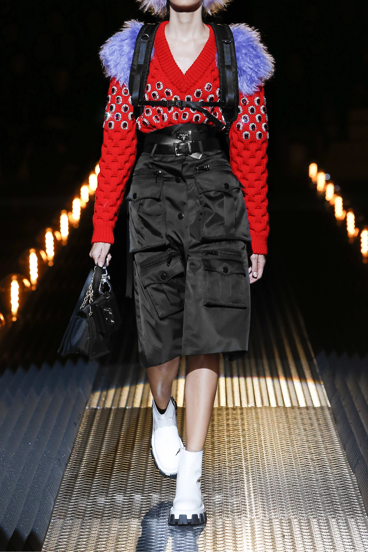 Prada Zip-detailed nylon skirt