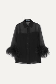 Prada Feather-trimmed silk-georgette blouse