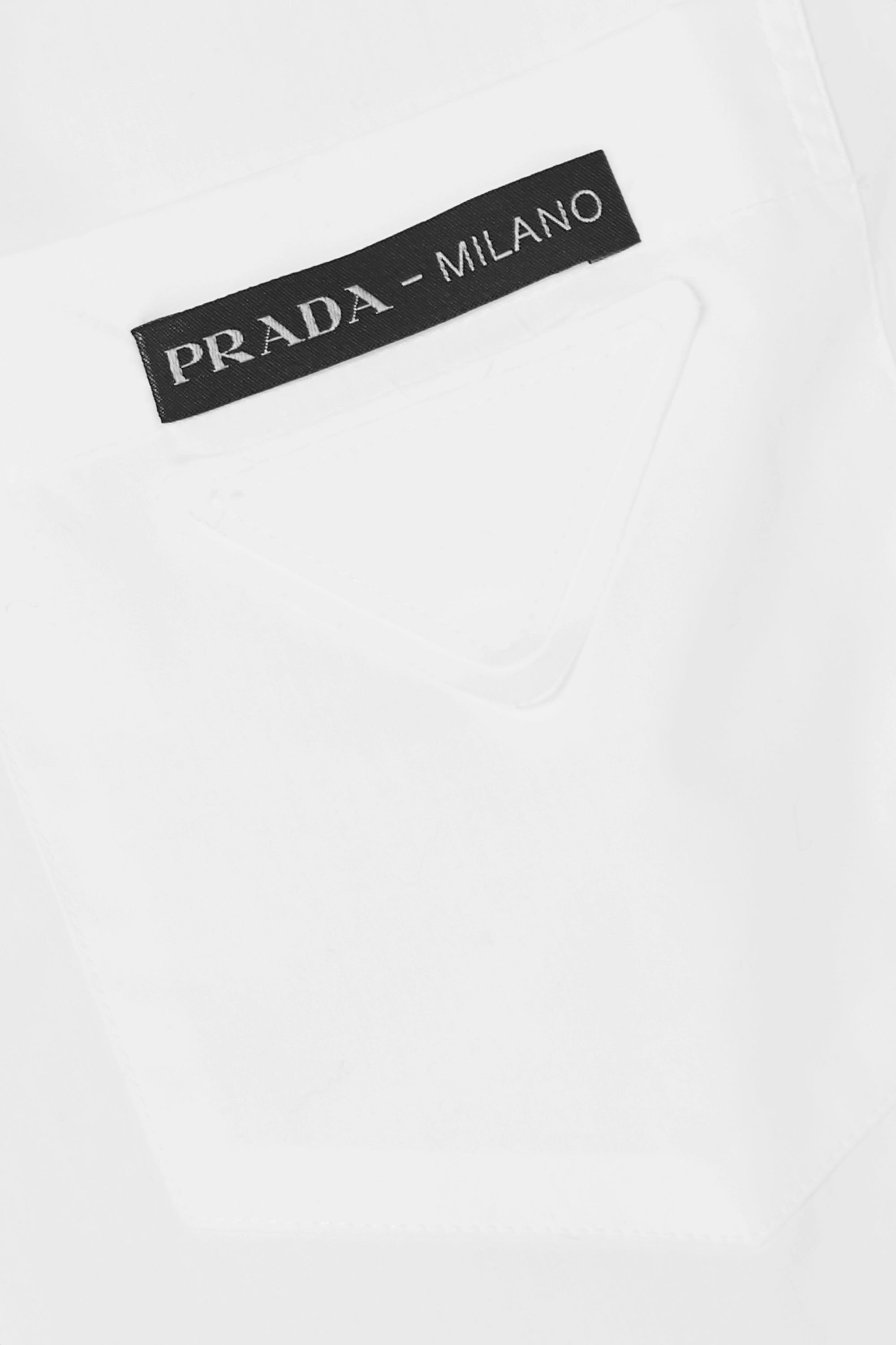 Prada Feather-trimmed cotton-poplin shirt