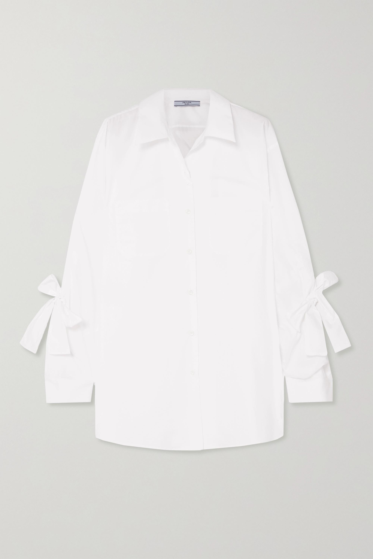 Prada Bow-embellished cotton-poplin shirt
