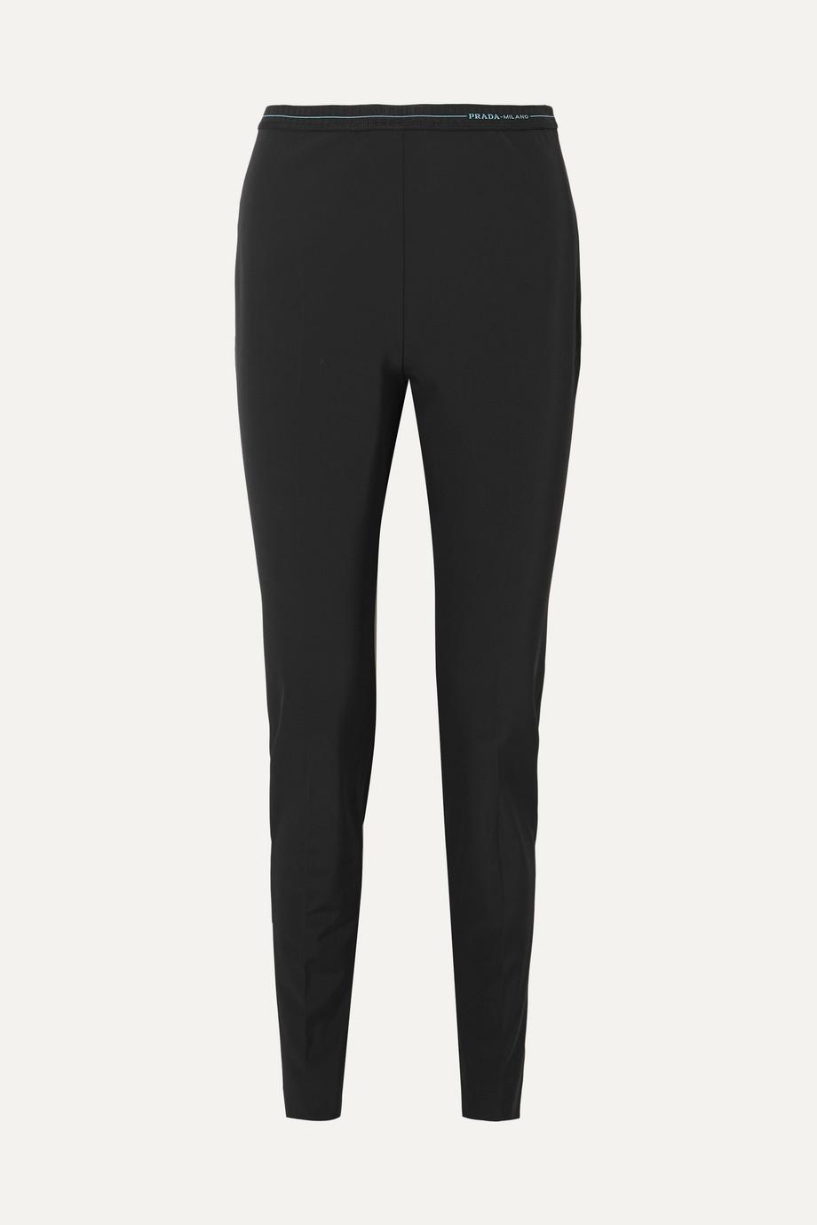 Prada Logo-detailed stretch-twill leggings
