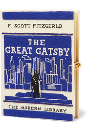 The Great Gatsby embroidered appliquéd canvas clutch