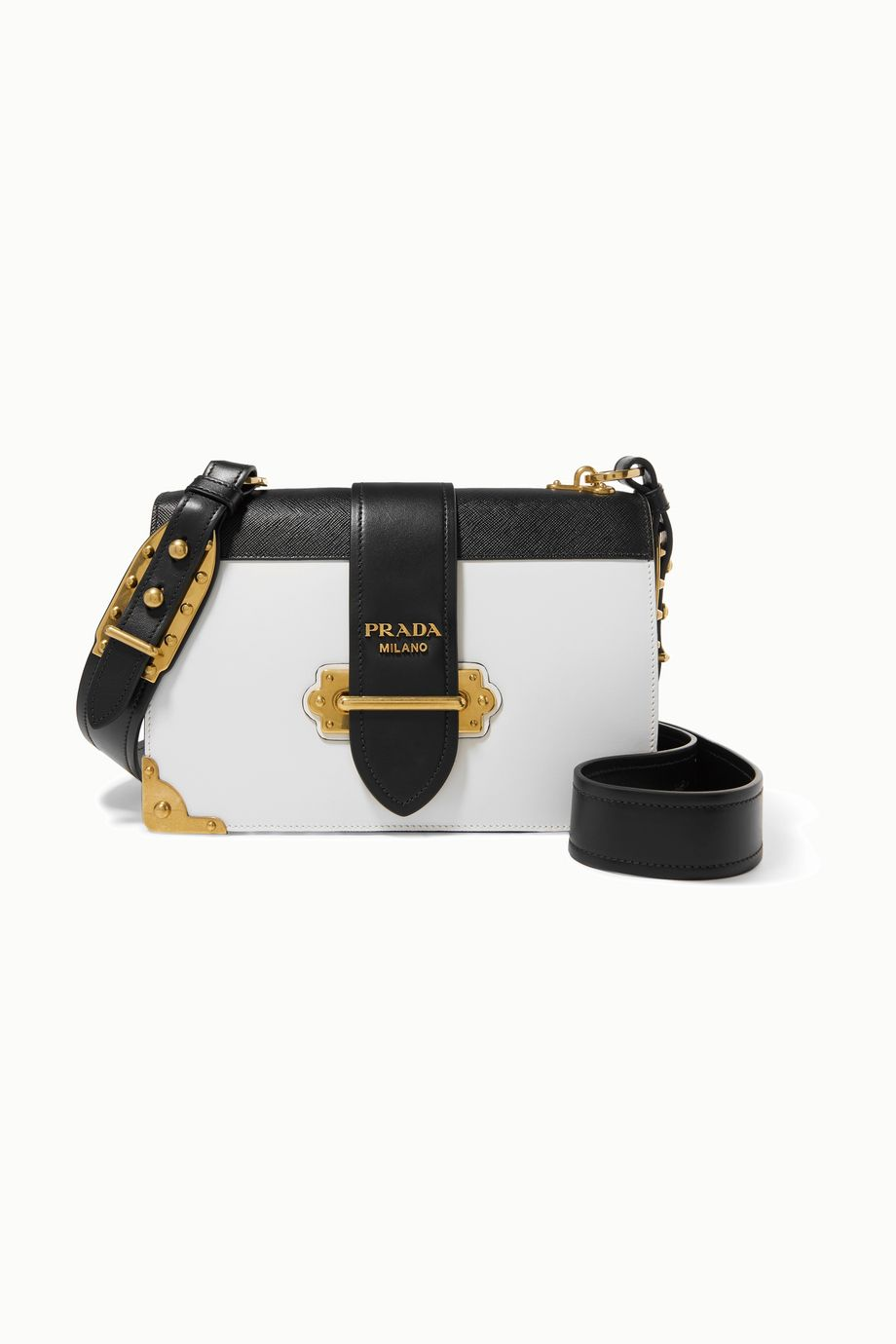 Prada Cahier large two-tone leather shoulder bag