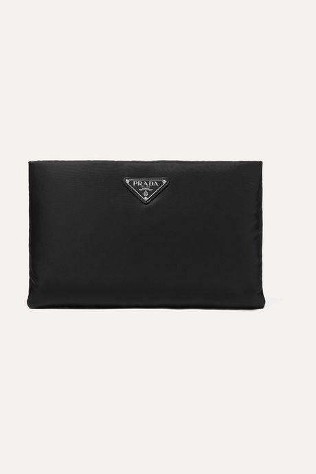 Black Leather-trimmed shell pouch   Prada pJM3d7