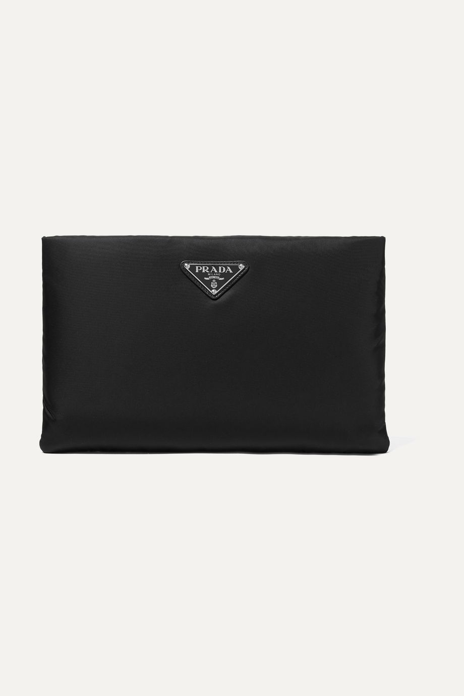Prada Leather-trimmed shell pouch