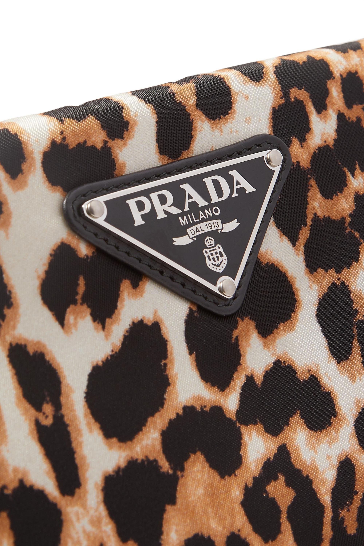 Prada Leather-trimmed leopard-print nylon pouch