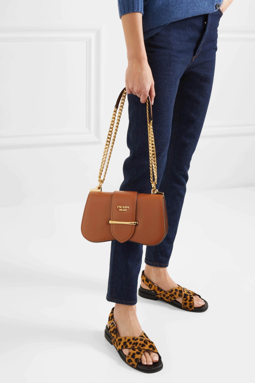 Brown Sidonie Medium Leather Shoulder Bag | Prada