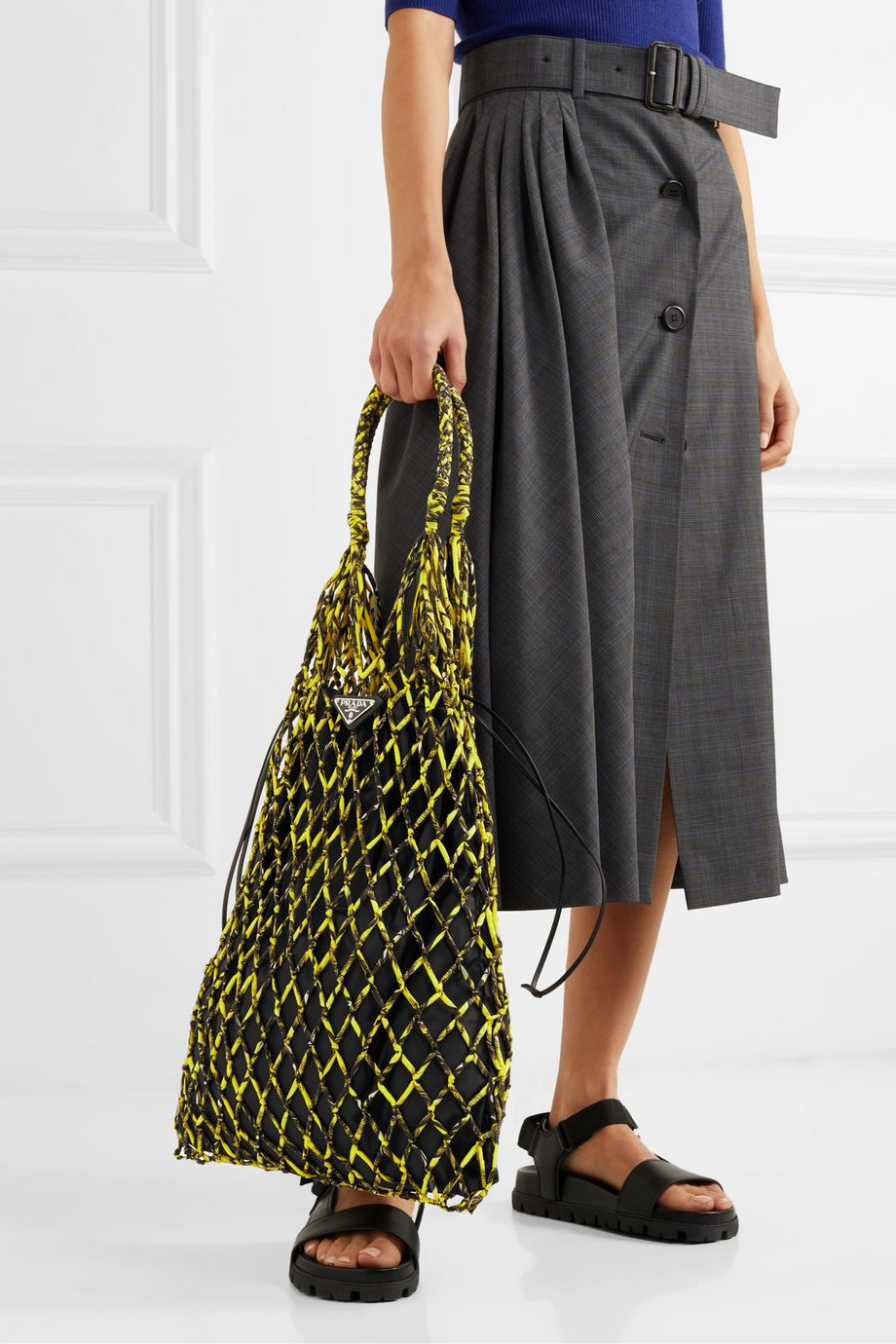 Prada String large leather-trimmed printed nylon macramé tote