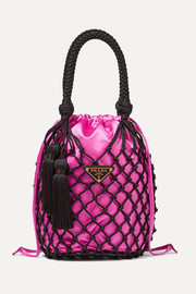 Prada String small tasseled satin and macramé tote