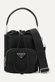 Prada Leather-trimmed shell bucket bag