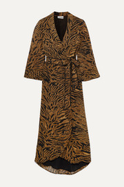 Tiger-print georgette wrap dress