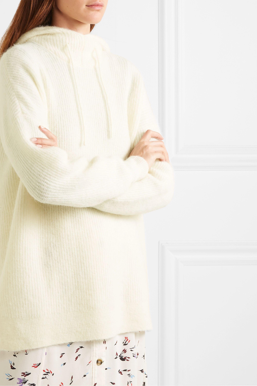 GANNI Ribbed-knit hoodie
