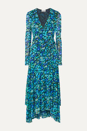 Floral-print stretch-mesh wrap midi dress