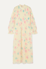 GANNI Ruffled floral-print plissé-georgette midi dress