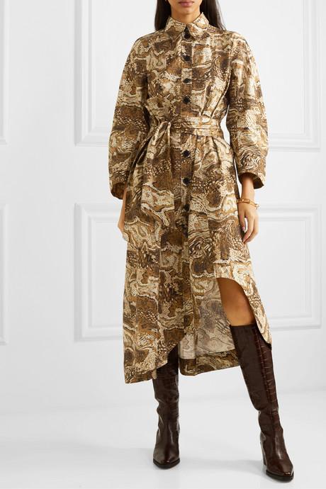 Asymmetric belted printed cotton-poplin midi dress