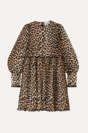 GANNI Leopard-print plissé-georgette mini dress