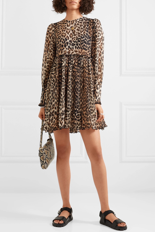 GANNI Leopard-print plissé-georgette mini dress