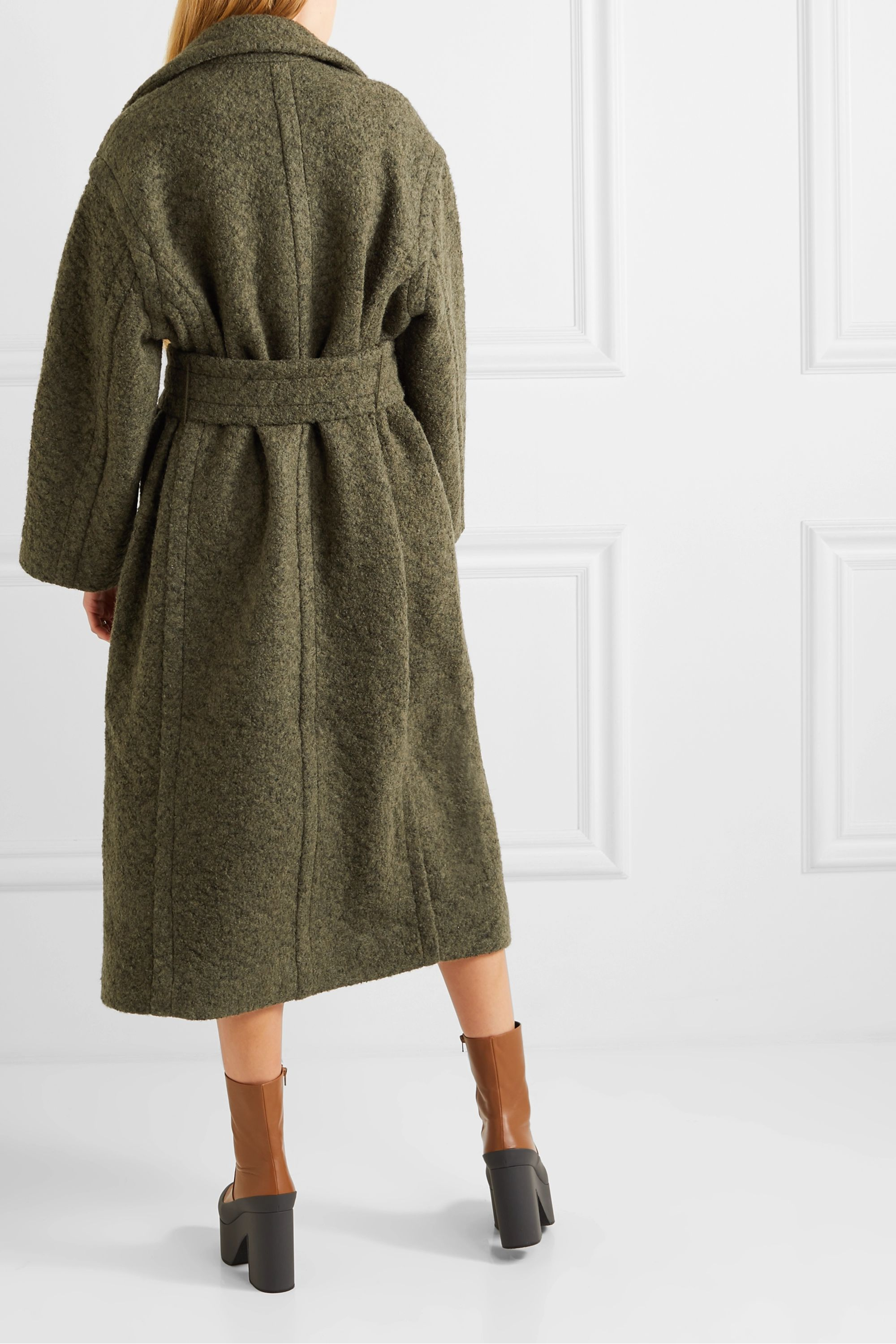 GANNI Oversized double-breasted wool-blend bouclé coat