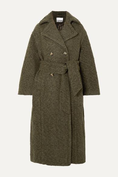 Ganni Coats Oversized double-breasted wool-blend bouclé coat