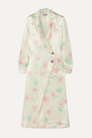 GANNI Floral-print satin wrap dress