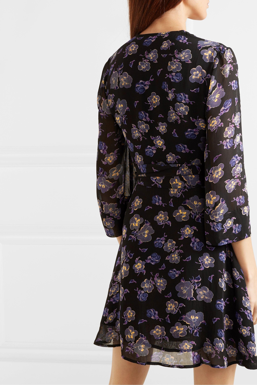 GANNI Floral-print georgette mini wrap dress
