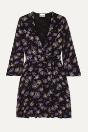 GANNI Floral-print georgette mini wrap dress