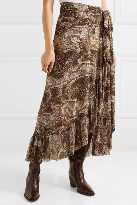 Ruffled printed stretch-mesh wrap skirt