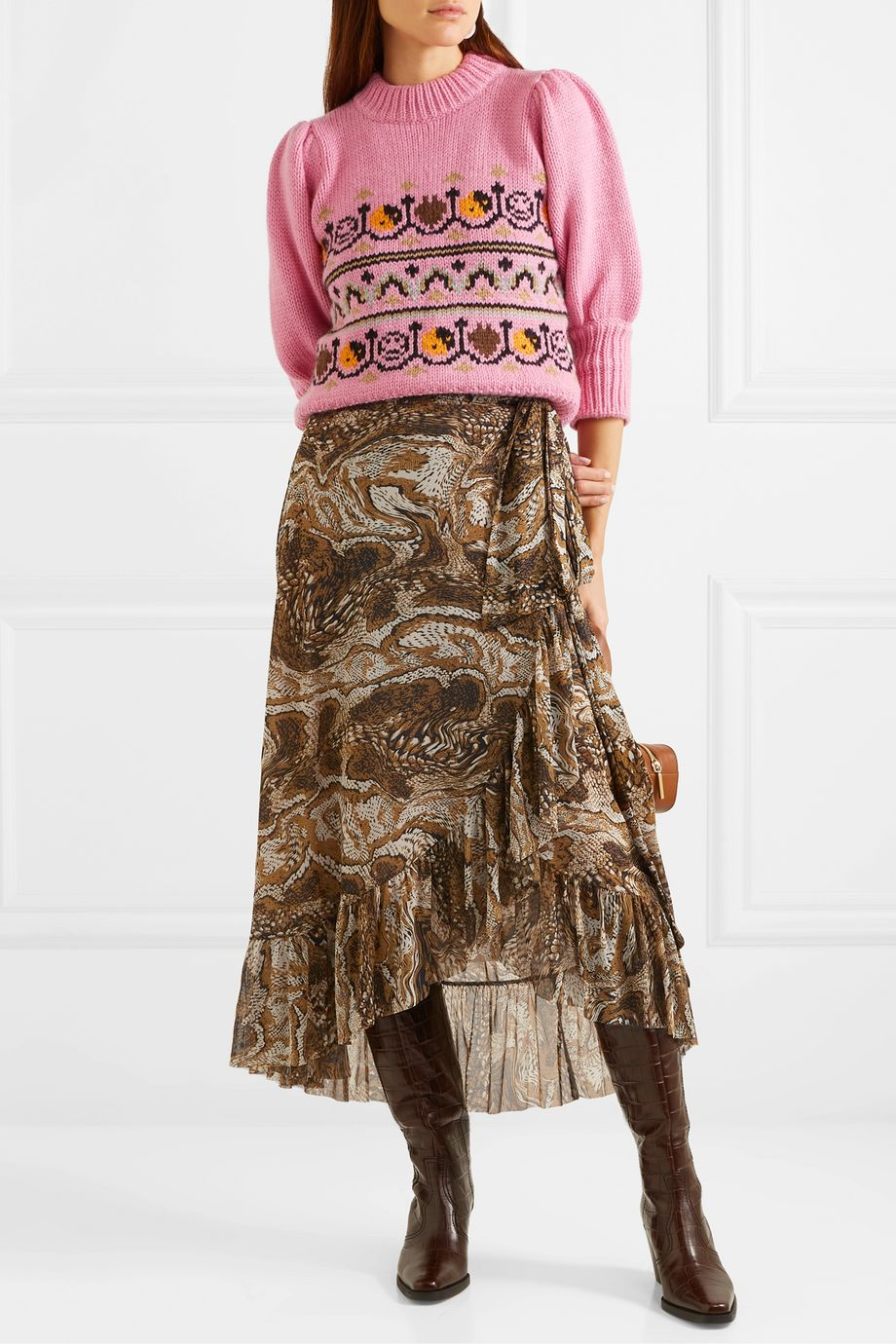 GANNI Ruffled printed stretch-mesh wrap skirt