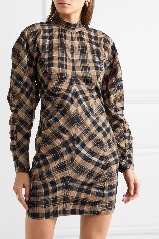 GANNI Mini-robe en coton mélangé à carreaux et à fronces