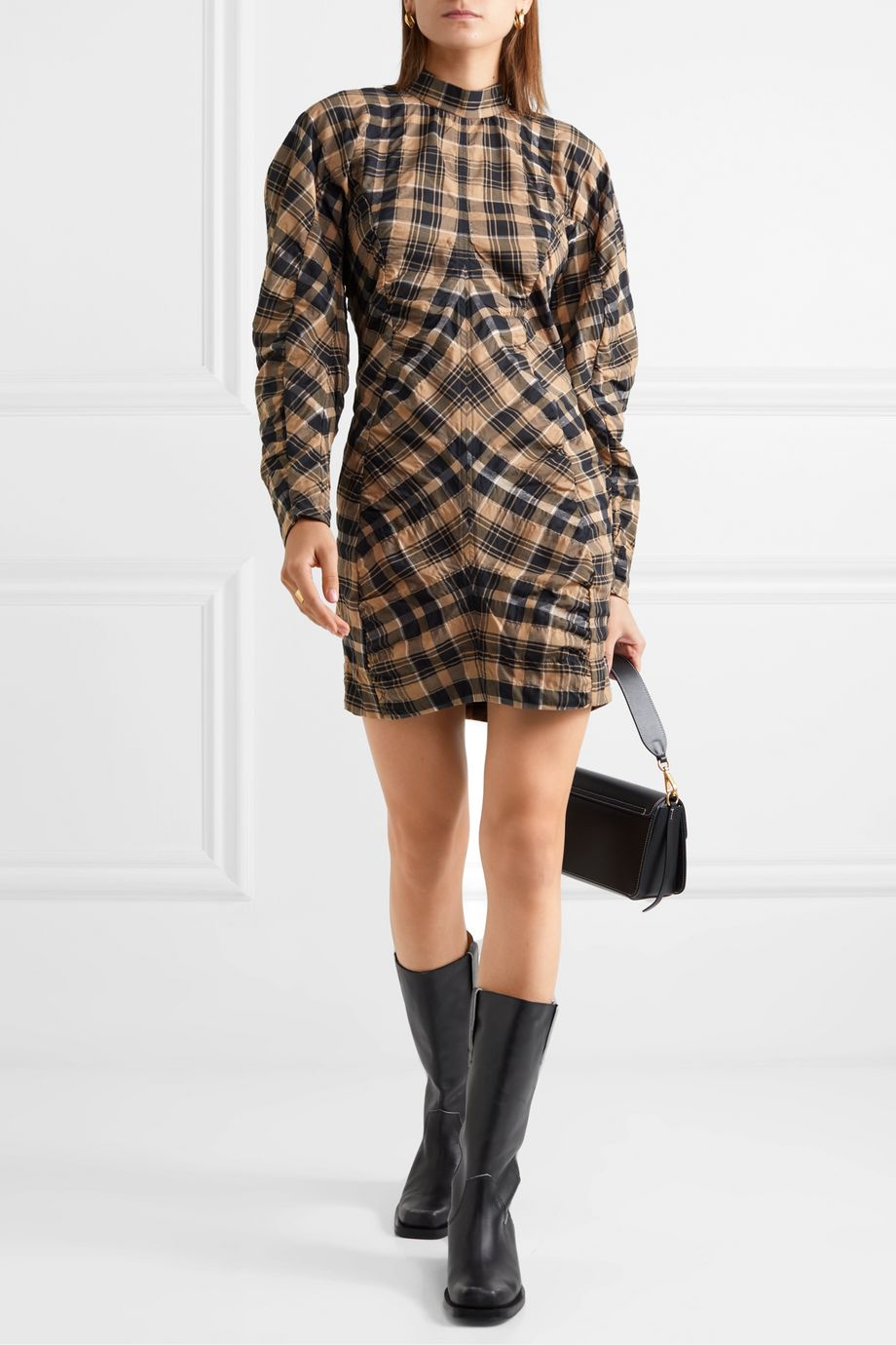 GANNI Ruched checked cotton-blend mini dress
