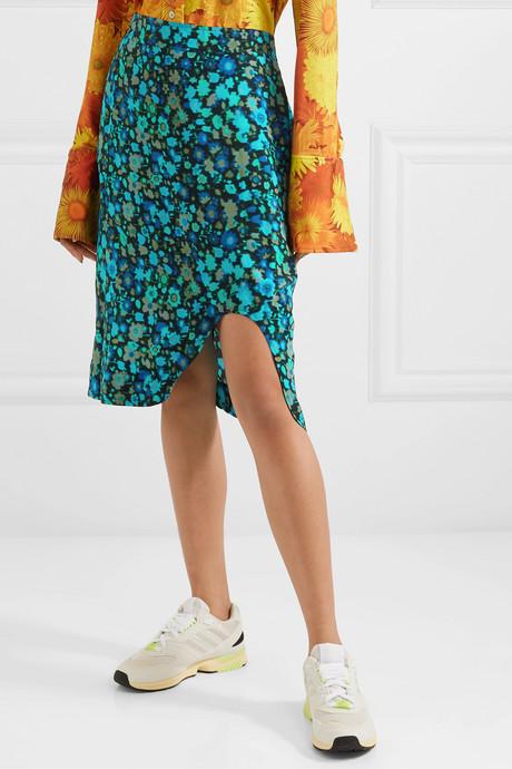 Floral-print crepe midi skirt