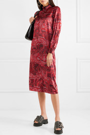Printed stretch-silk satin midi dress