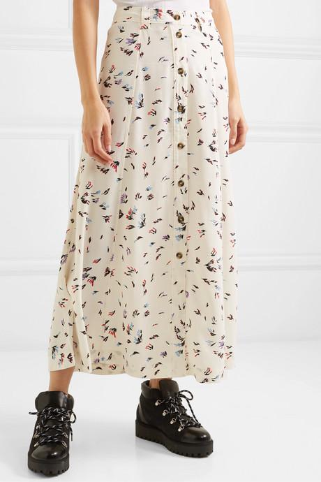 Floral-print crepe maxi skirt