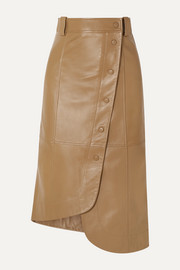 GANNI Asymmetric leather wrap skirt