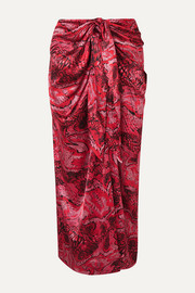 GANNI Tie-front printed silk-blend satin midi skirt
