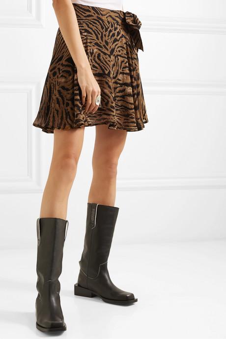 Tiger-print georgette mini skirt