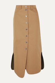 GANNI Asymmetric canvas midi skirt