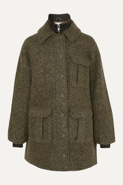 GANNI Ribbed jersey-trimmed wool-blend bouclé jacket