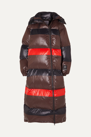 + 66 North Askja Hooded Striped Quilted Glossed Shell Down Coat by Ganni