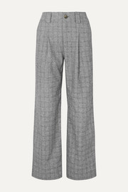 GANNI Checked bouclé straight-leg pants