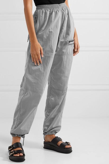 Windcheater appliquéd metallic shell track pants