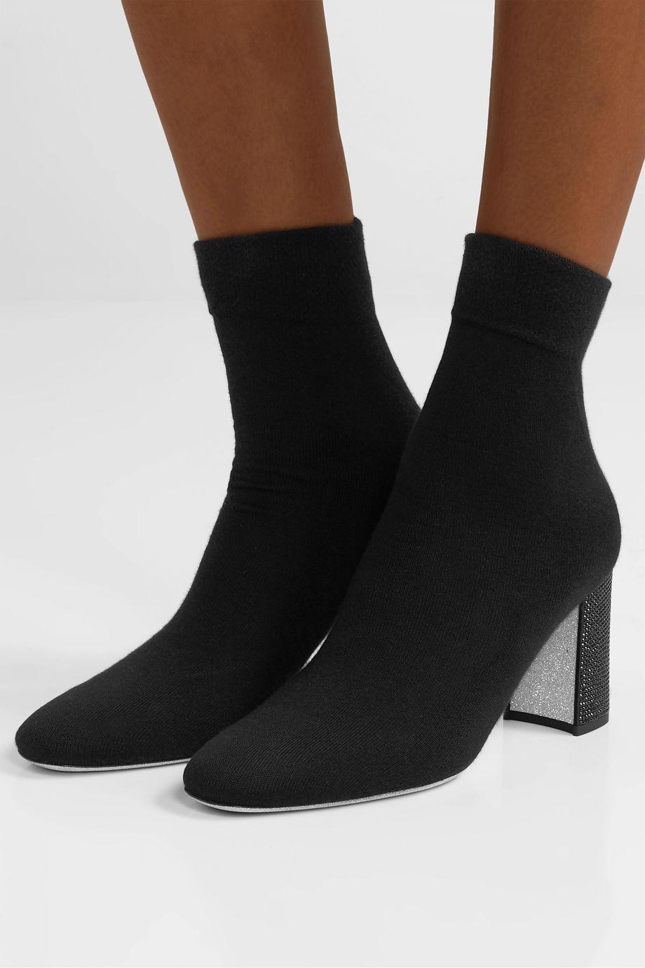 René Caovilla Crystal-embellished cashmere-blend sock boots