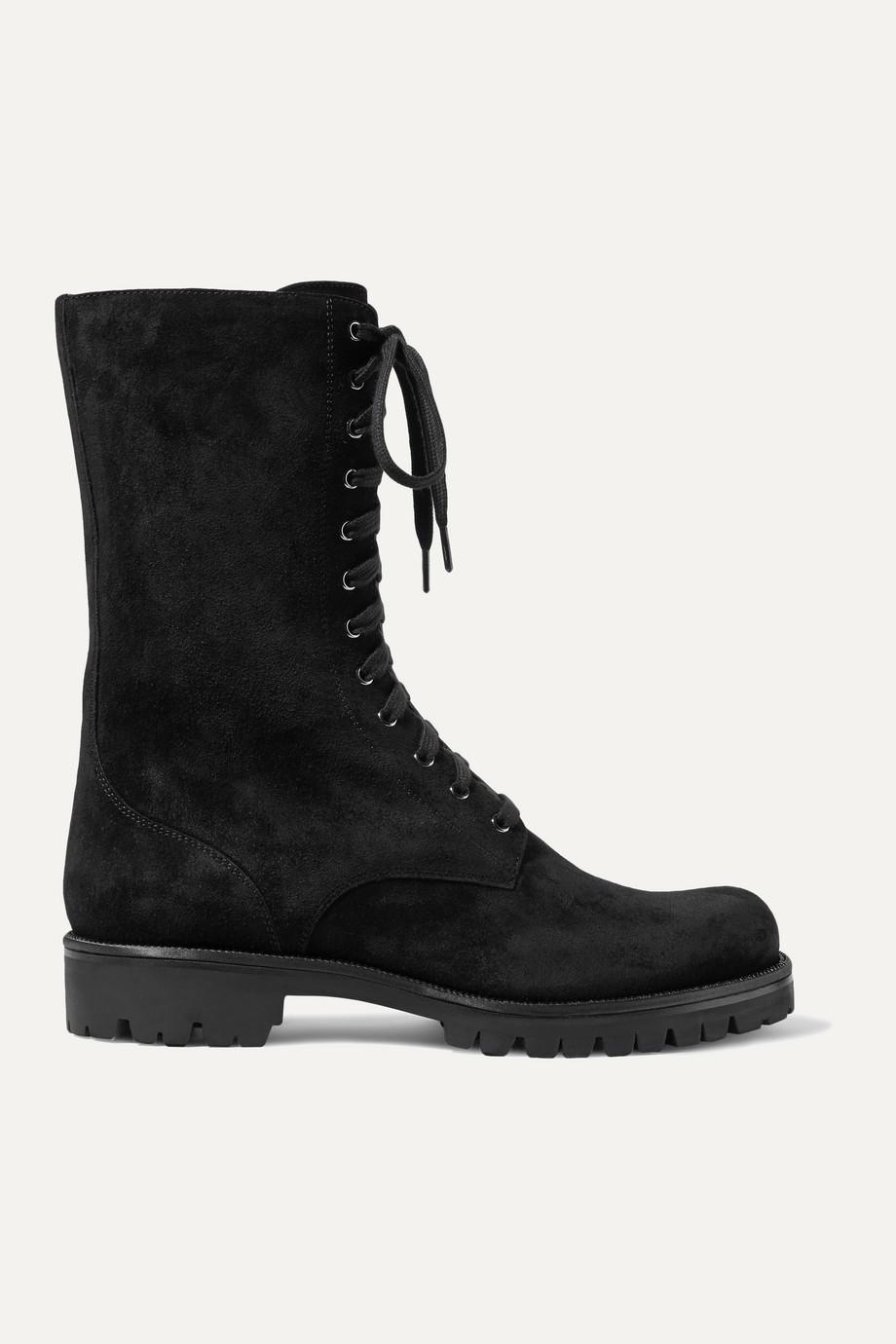 René Caovilla 水晶缀饰绒面革踝靴