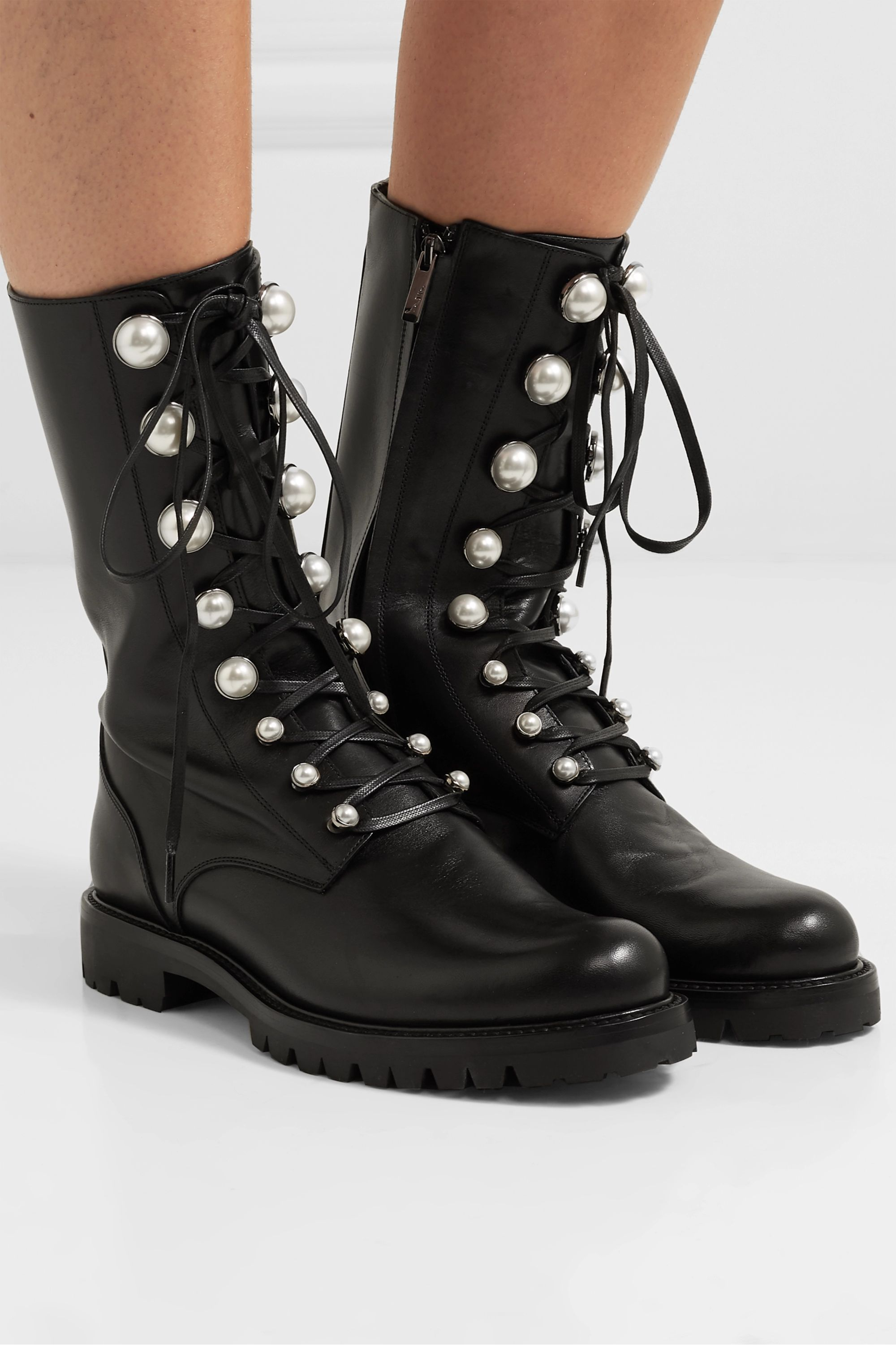 René Caovilla Embellished leather boots