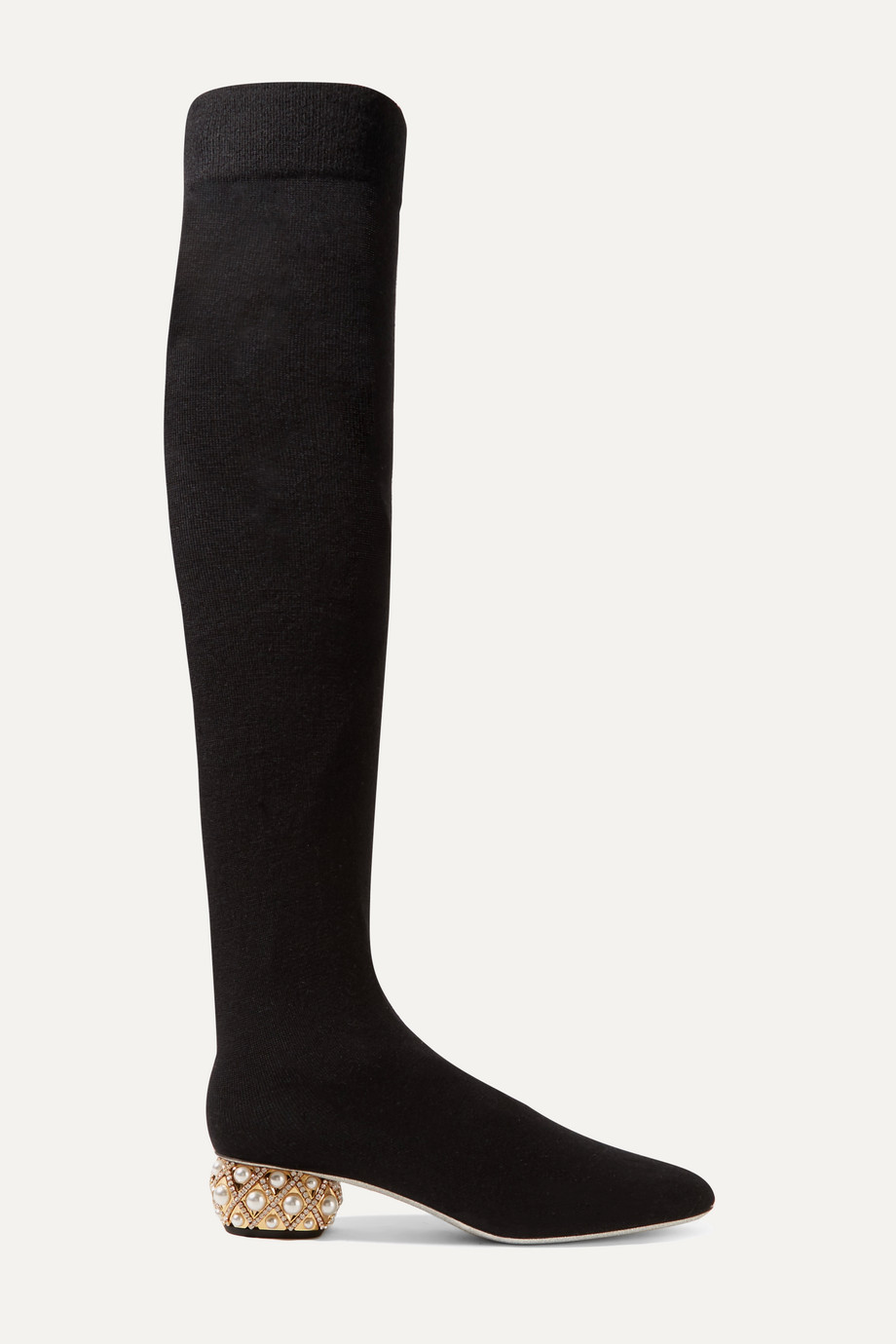 René Caovilla Grace embellished cashmere over-the-knee boots