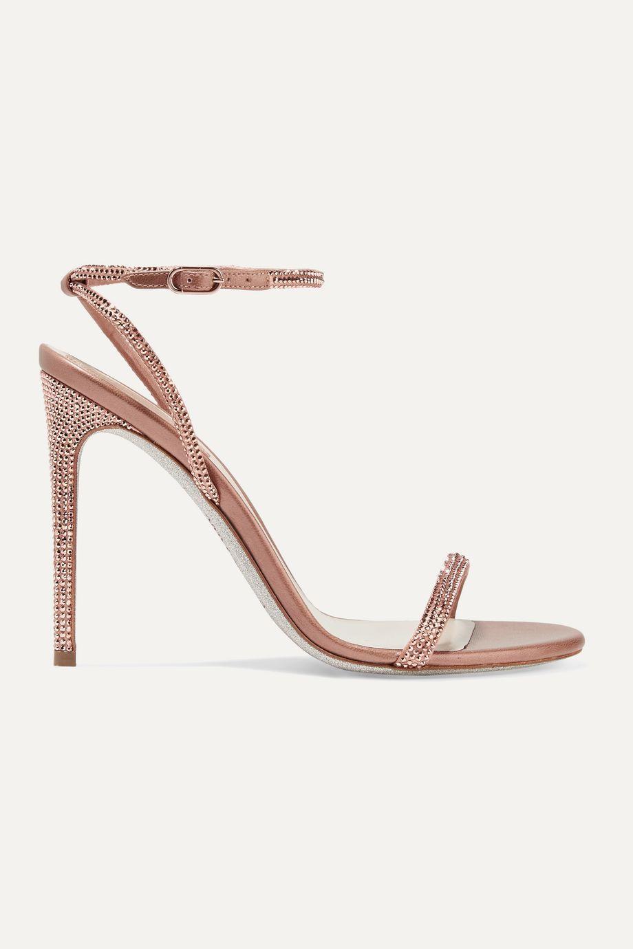 René Caovilla 水晶缀饰缎布金属感皮革凉鞋