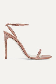 Crystal-embellished satin and metallic leather sandals