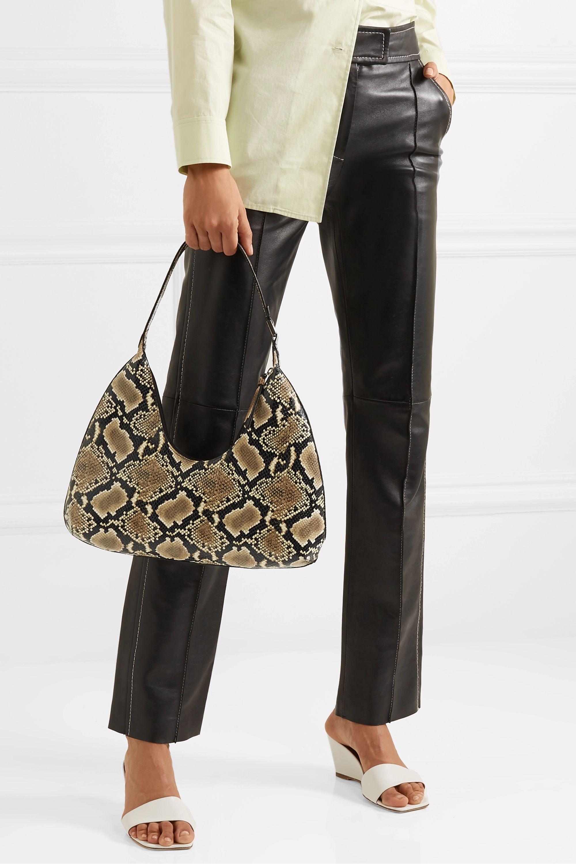 BY FAR Amber snake-effect leather shoulder bag