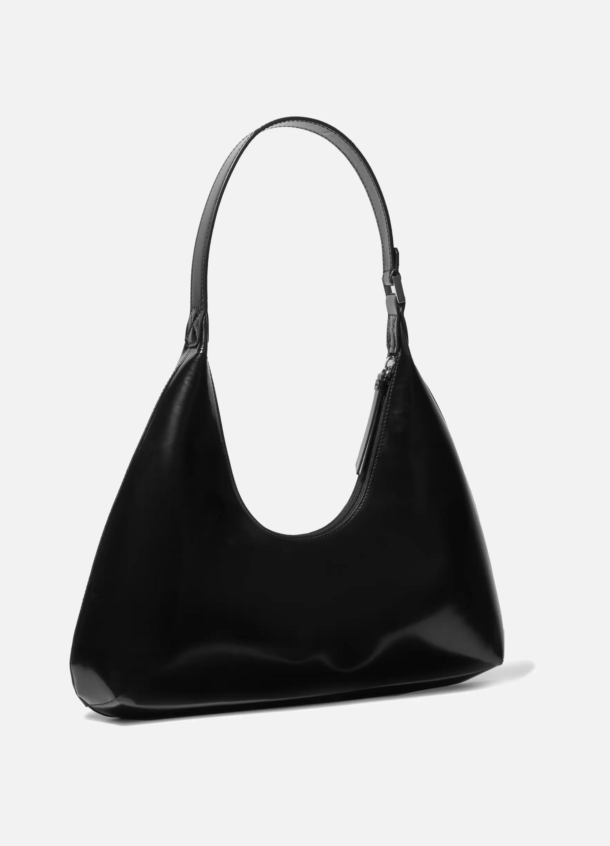 BY FAR Amber smooth and patent-leather shoulder bag