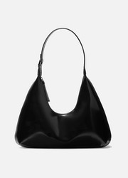 Amber smooth and patent-leather shoulder bag
